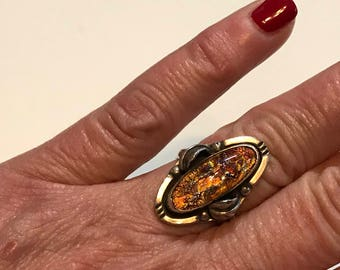 Sterling Silver Dragon's Breath Opal Art Glass Ring Mexican Southwest Dragon's Breath SZ 6 3/4