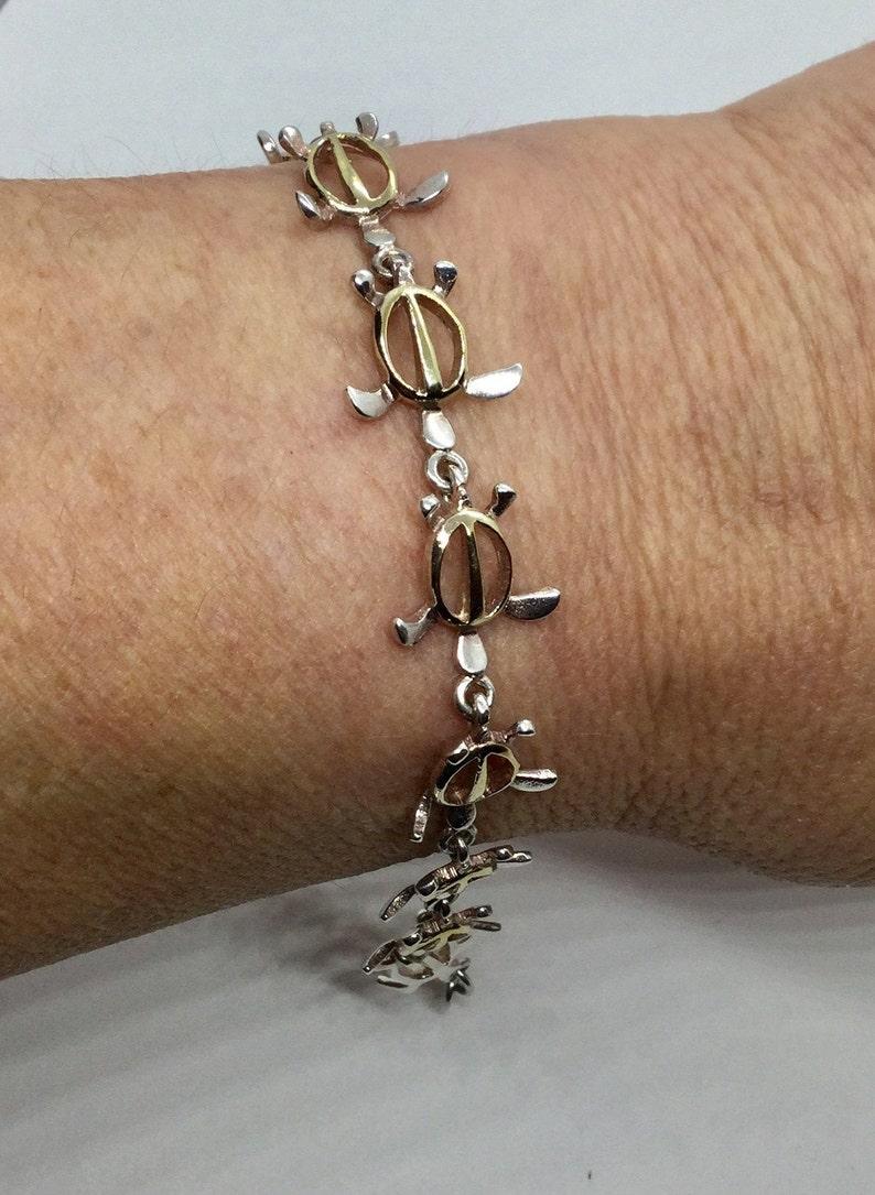 Vintage Sterling Silver and Gold Vermeil Turtle Bracelet