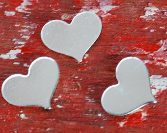 Stamping Blanks Sterling Silver Heart Stamping Blank 8mm x 10mm  De-Bured , Metal Stamped Jewelry Supply