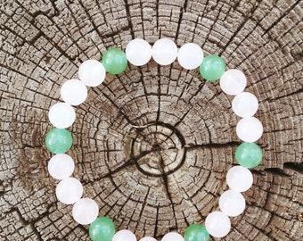 Beautiful Rose Quartz and Green Agate Bracelet