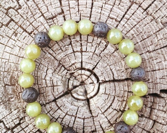 Jade and Lava Bracelet