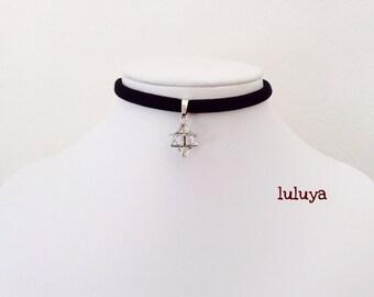 Black Handmade Stretch Choker Necklace 3D Star Of David Jewish Charm W Crystals Gift Birthday Favor
