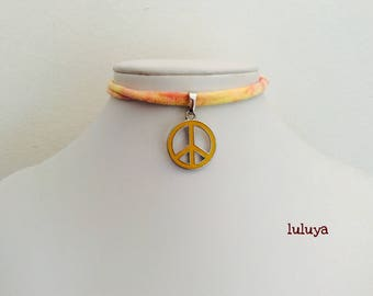 Orange Yellow Red Tie Dye Handmade Stretch Choker Necklace Peace Sign Charm Gift Birthday Favor