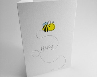 Bee Happy - Get well / Cheer Up / Happy Friday - 4x6 Greeting Card