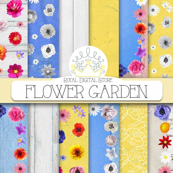 Flower Digital Paper Flower Garden With Colorful Etsy