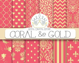 """Coral digital paper: """"CORAL AND GOLD"""" with coral scrapbook paper, coral pattern, coral printable, coral wedding paper, instant download"""