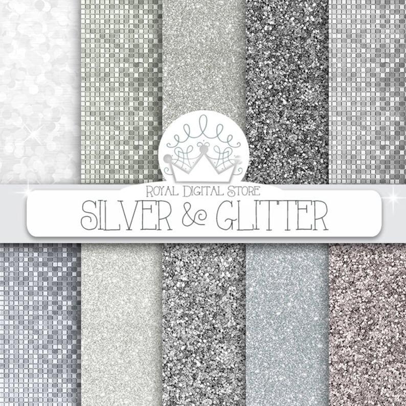 Carta Digitale Glitter In Argento Silver Etsy