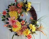 Large Spring Summer Wreath, Door Wreath, Chrysanthemum Hydrangea Wreath, Wreath, Fall wreath ready to ship