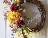 Rustic Wreath,Door wreath, Hydrangea Roses Wreath,Roses Wreath Original Handmade