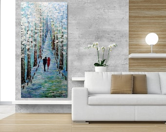 WINTER With You LOVE PATH Original Oil Painting Tall Vertical Narrow Canvas Impasto Textured Art by Luiza Vizoli