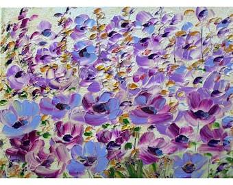 Purple Lavender White Green Yellow FLOWERS ORIGINAL PAINTING Oil Impasto Art by Luiza Vizoli