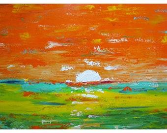 Orange Abstract Landscape Minimalist Original Painting Art by Luiza Vizoli