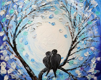 Winter Painting Lovebirds Music IN LOVE Original Oil Painting on Canvas Textured Impasto