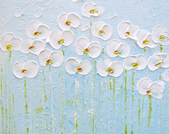 White Flowers on Blue Abstract Large Original Painting Square Canvas Impasto Oil on Canvas Art by Luiza Vizoli