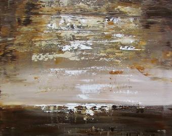 Brown Rust Cream Minimalist Painting Original Art on Canvas Art by Luiza Vizoli