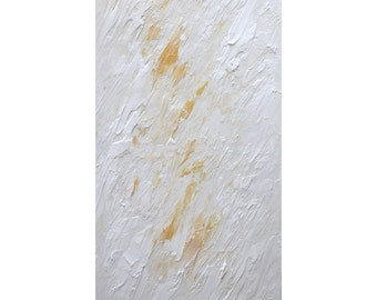 White Gold Minimalist Painting Abstract Art Original Modern Palette Knife Canvas ready to ship, horizontal or vertical hanging