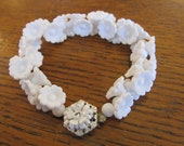 Miriam Haskell White Floral Bracelet Signed