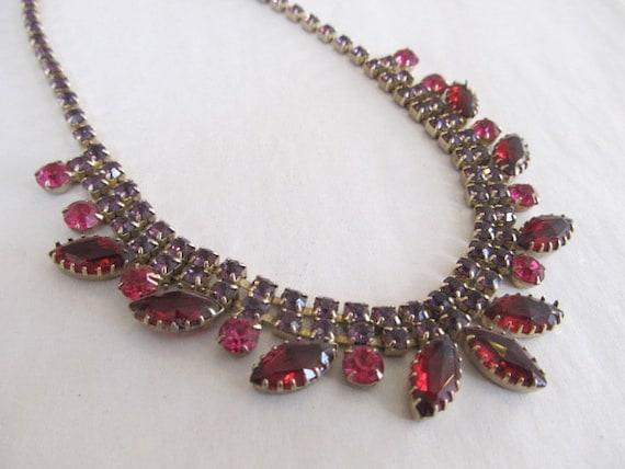 Lavender Pink Rhinestone Necklace Earring Set Gold Metal Wedding Vintage Juliana