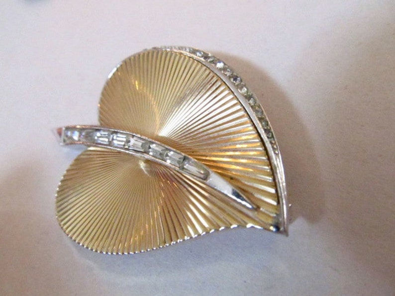 Marcel Boucher Rhinestone Leaf Brooch /& Earrings Demi Parure Set Gold Tone and Silver Tone