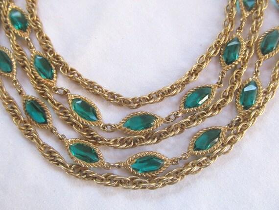 Green Rhinestone Necklace Multi-Chain Necklace Gol