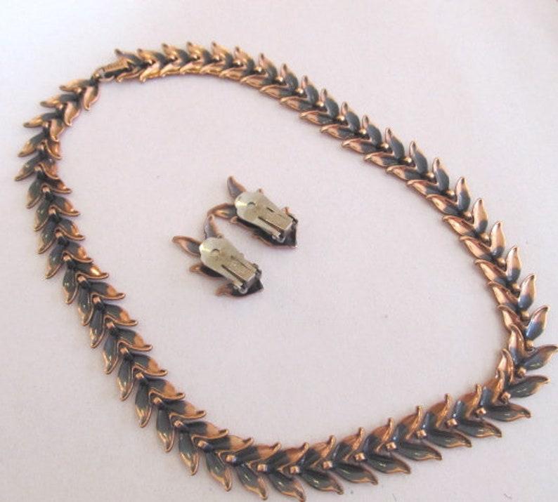 Renoir Copper Leaf Necklace /& Earrings Demi Parure Set Signed