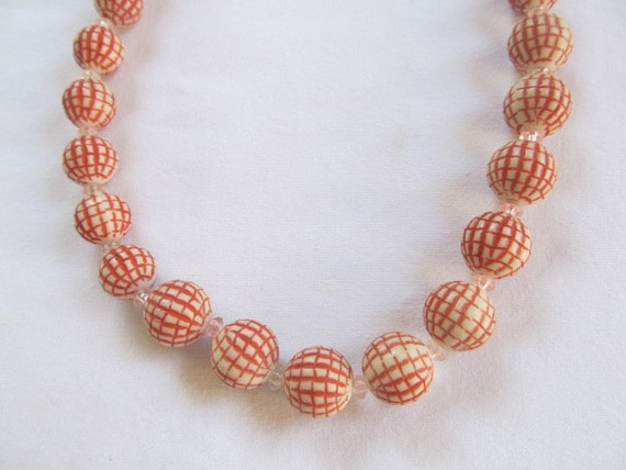 Vassar Original Lucite Bead Necklace Orange