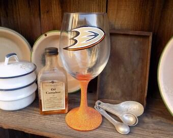 Hand Painted Anaheim Ducks Wine Glass