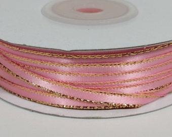 "1/8"" Satin Ribbon with Gold Edge - Pink"