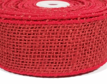 "2"" Wired Jute Burlap Ribbon - Red - 10 Yards"