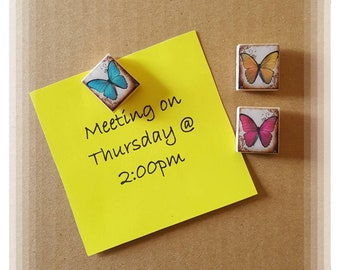 Butterfly theme Scrabble Tile Thumb Tacks - Set of 3 ~ Cubicle Decor ~ Teacher Gifts ~ Co-Worker Gifts
