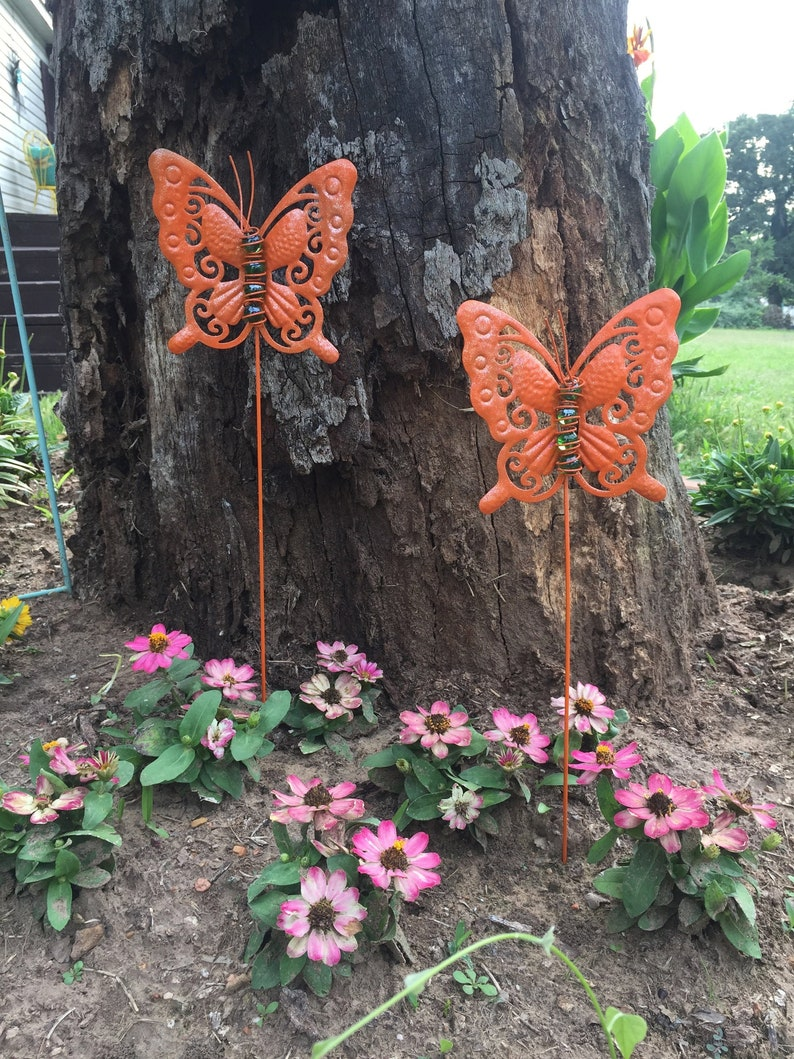 10//25X Garden Butterfly Metal Stake Flower Pot Décor Outdoor Patio Lawn Yard Art
