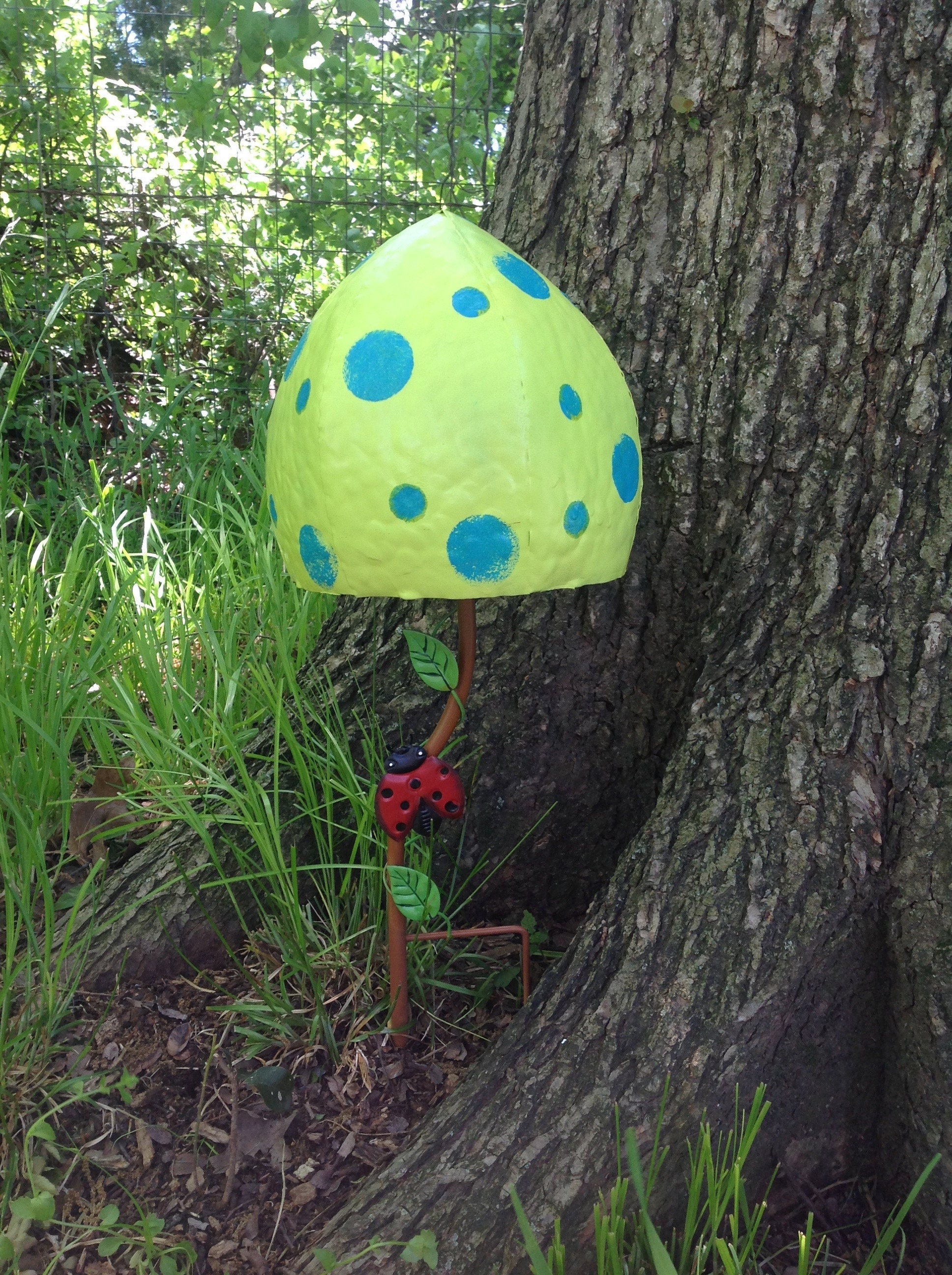 Fun Fungi Large Lime Mushroom Garden Stake Metal Whimsical Etsy