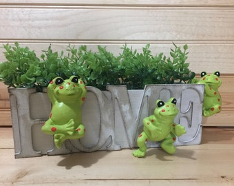 Whimsy Frog Pot Pals - Set of 3 Pot Hanging Frogs - Flower Pot Window Box Decor - Free Shipping