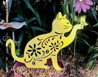 Silhouette Cat with a Butterfly Garden Stake - Yellow Metal Yard Art - Outdoor Garden Patio Flower Pot Decor - Free Shipping