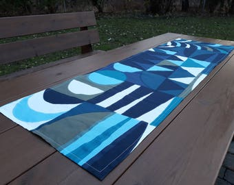 Moderne Tischläufer Aus Marimekko Stoff Kuun Sade, Blaue Geometrische  Schmalen Tischdecke Herzstück Topper, Skandinavisches Design