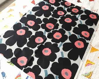 Marimekko fabric Pieni Unikko, Scandinavian modern floral designer upholstery cotton canvas