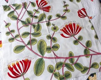 Marimekko fabric Kuusama in red and green, modern Scandinavian floral summer large scale fabric