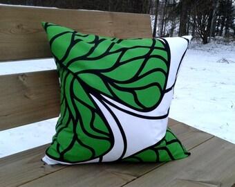 Pillow cover made from Marimekko fabric Bottna, throw pillow or cushion cover, green botanical accent pillow, modern Scandinavian design