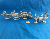 Semi-Flat Complete Set of Limber, Horses, Cannon, and Crew - 18th Century Toy Soldiers