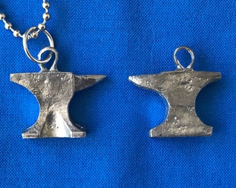 Tiny Silver Anvil Necklace Sterling Silver Anvil Charm on a Delicate Sterling Silver Cable Chain or Charm Only