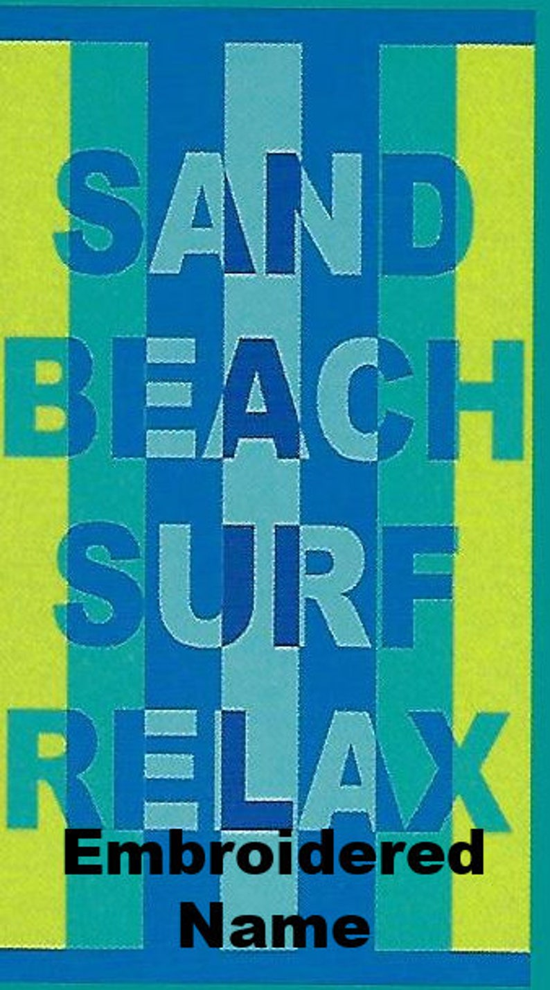40 x 72 Oversized Name Embroidered Beach  Pool Towel With Sand Beach Surf Relax Design