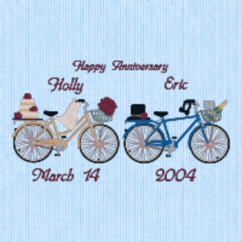 18 x 18 Wedding  Anniversary Pillow White Fabric Embroidered With Bicycles