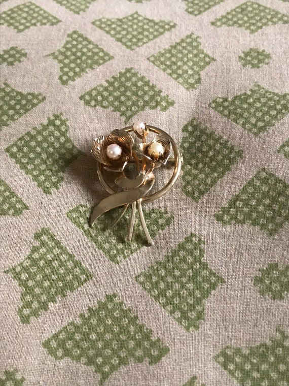 Vintage Pearl Brooch, Gold Brooch, Vintage Brooch… - image 7