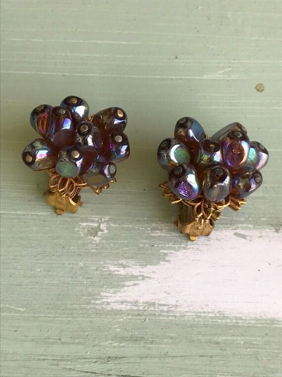Vintage Clip On Earrings, Clip On Earrings, Purple