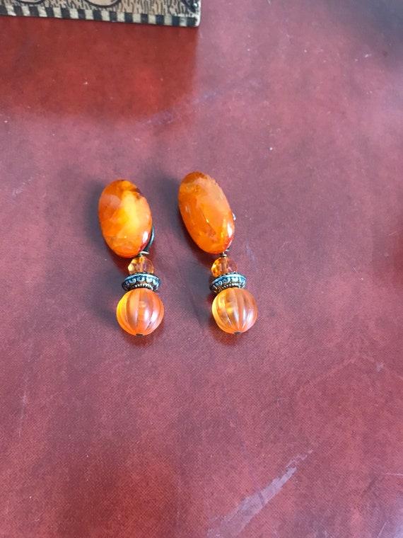 Vintage Clip On Earrings, Orange Earrings, Dangle