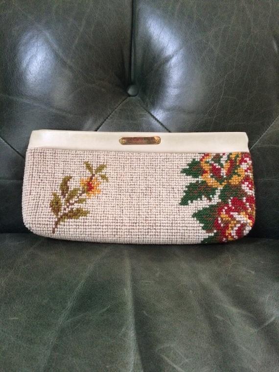 Vintage Needlepoint Clutch, Floral Clutch, Floral