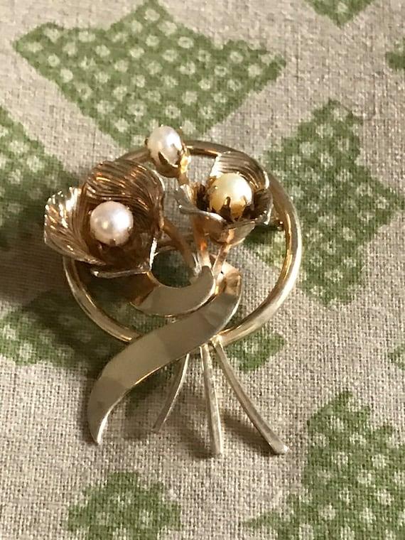 Vintage Pearl Brooch, Gold Brooch, Vintage Brooch… - image 1
