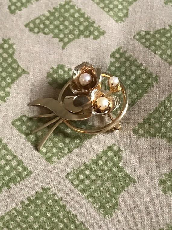 Vintage Pearl Brooch, Gold Brooch, Vintage Brooch… - image 4