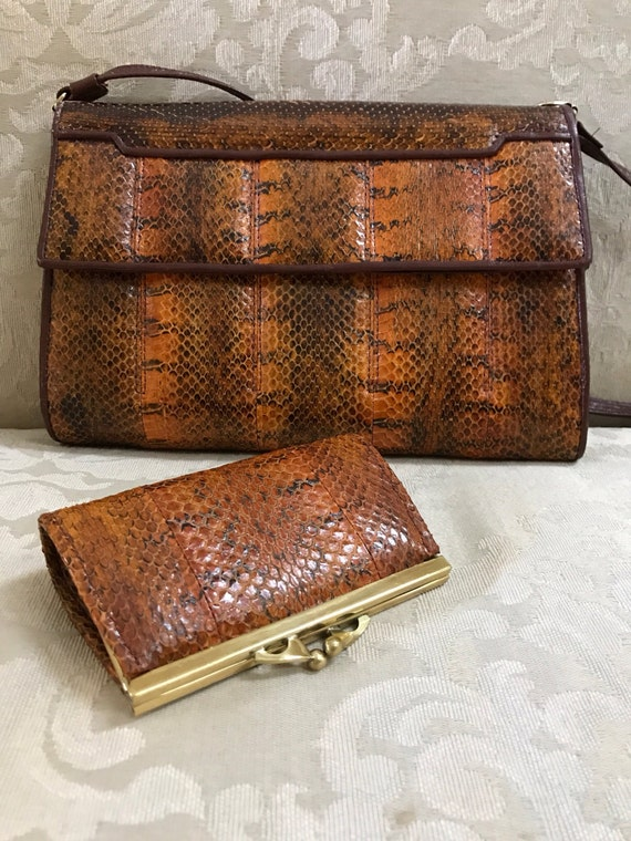 Vintage Snakeskin, Snakeskin Purse, Leather Should