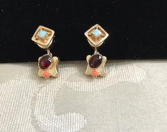Vintage Screw Backs, Gold Earrings, Gemstone Earrings, Screw Back Earrings, Garnet Earrings, Vintage Earrings, Vintage Gemstones